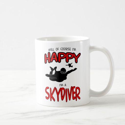 Happy Skydiver (blk) Coffee Mug