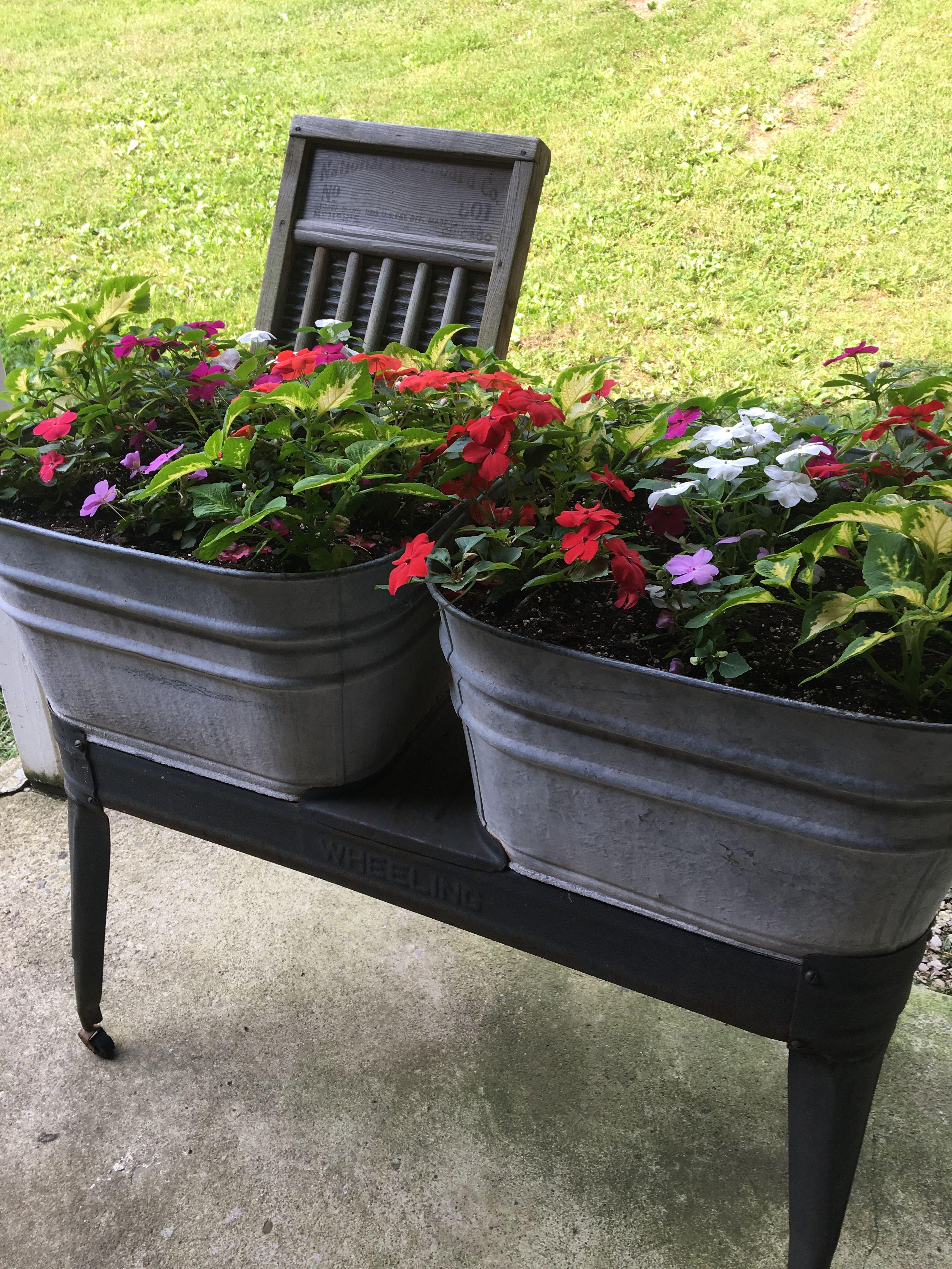 My Antique Washtub Planter June 2019 Vintage Sink Planters Outdoor Decor