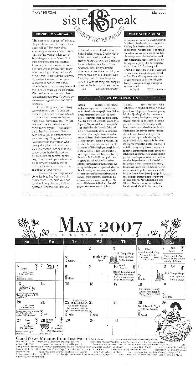 mormon share karen anderson rs newsletter sample newsletter