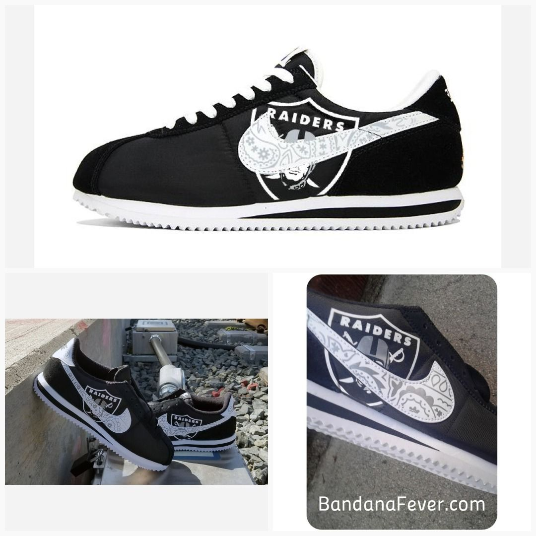 1f1ae096d763 Bandana Fever Bandana Oakland Raiders Big Print Custom Black White Nike  Cortez Shoes  raidernation