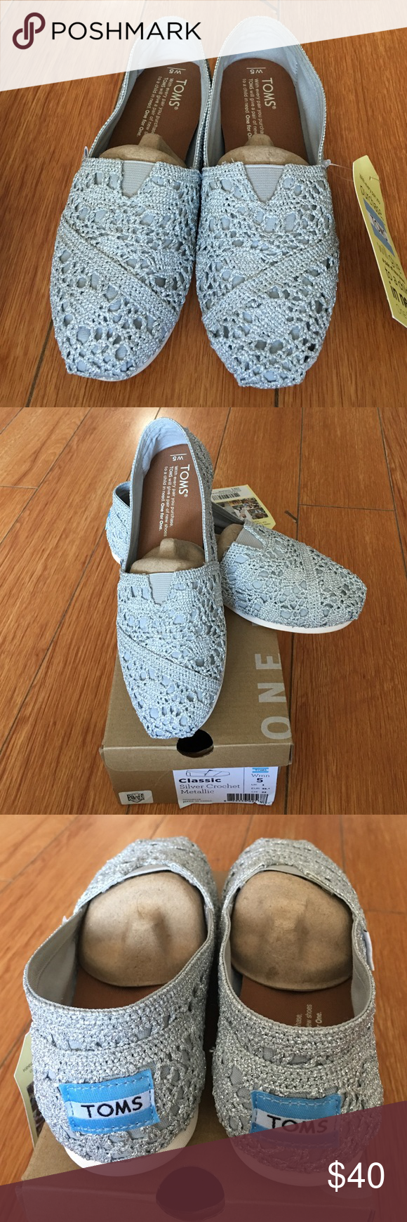 TOMS Classic Silver Crochet Metallic shoes Women's Size 5 • brand new in box • never worn • excellent condition TOMS Shoes Sneakers