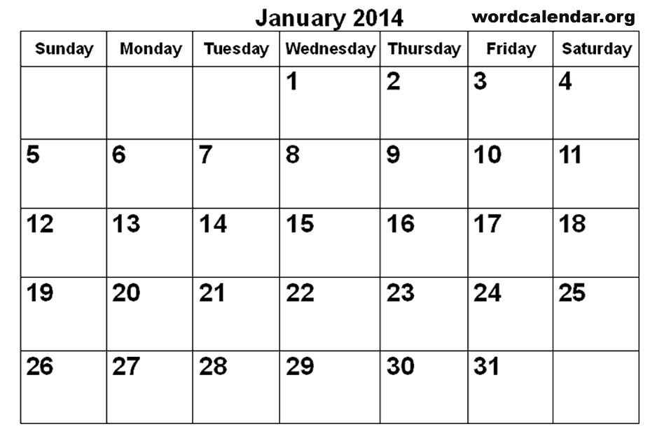 January 2014 Printable Calendar January 2014 Calendar Printable