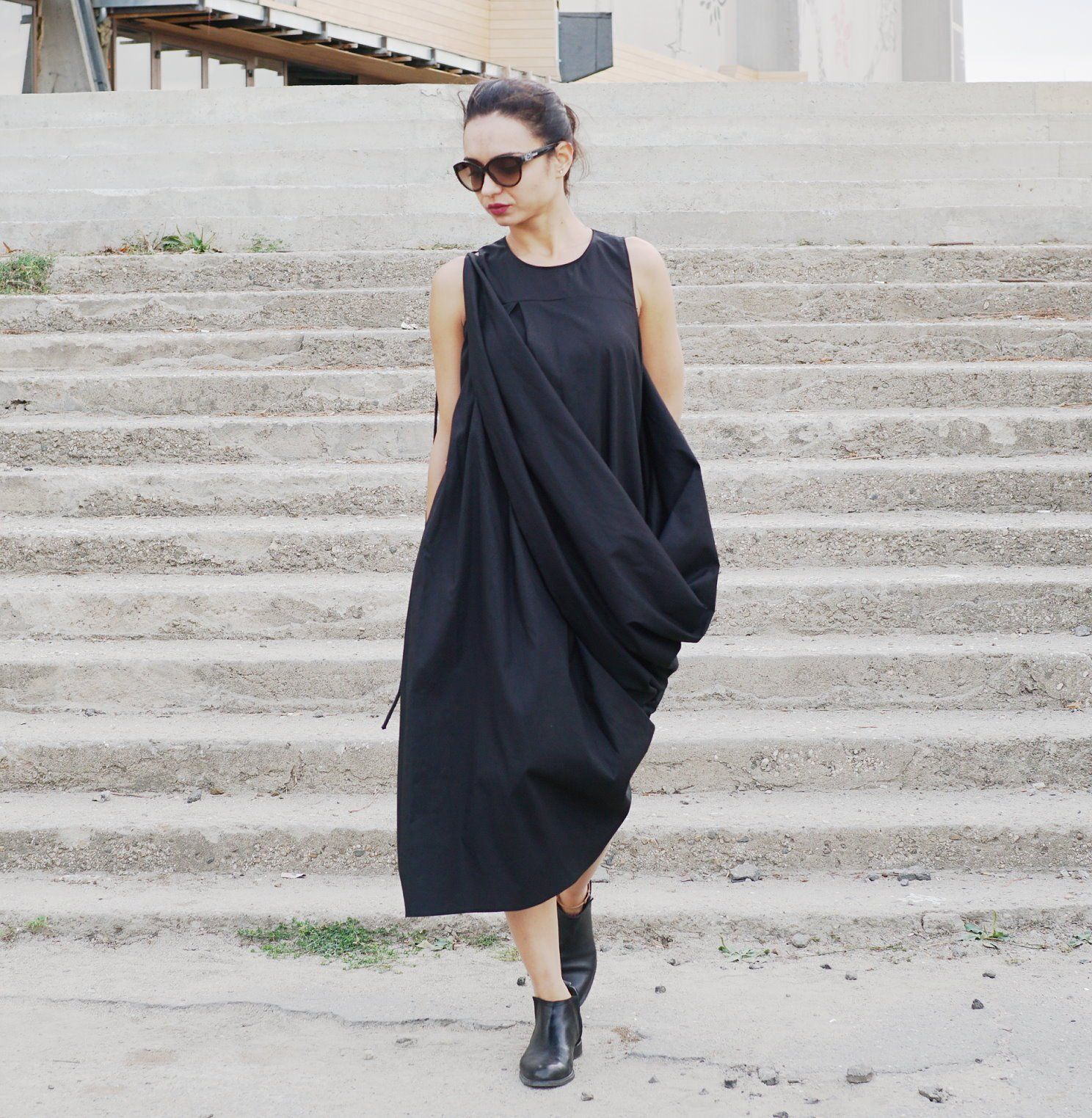 Black maxi dress sleeveless party kaftan stylish oversized dress