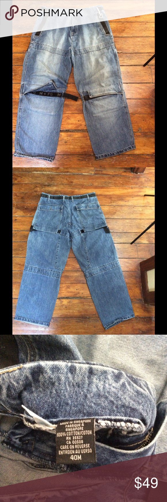 """MARITHE FRANCOIS GIRBAUD Street Velcro Jeans 40x31 About This Item:  Pre-owned designerMARITHE FRANCOIS GIRBAUD Baggy Street Raver 90's street style Jeans with Velcro detailing. Includes Silver Key Hook. Great pair of jeans!  The Measurements:  Waist: 40"""" Inseam: 31"""" Legopening(ankle): 10"""" Marithe Francois Girbaud Jeans"""