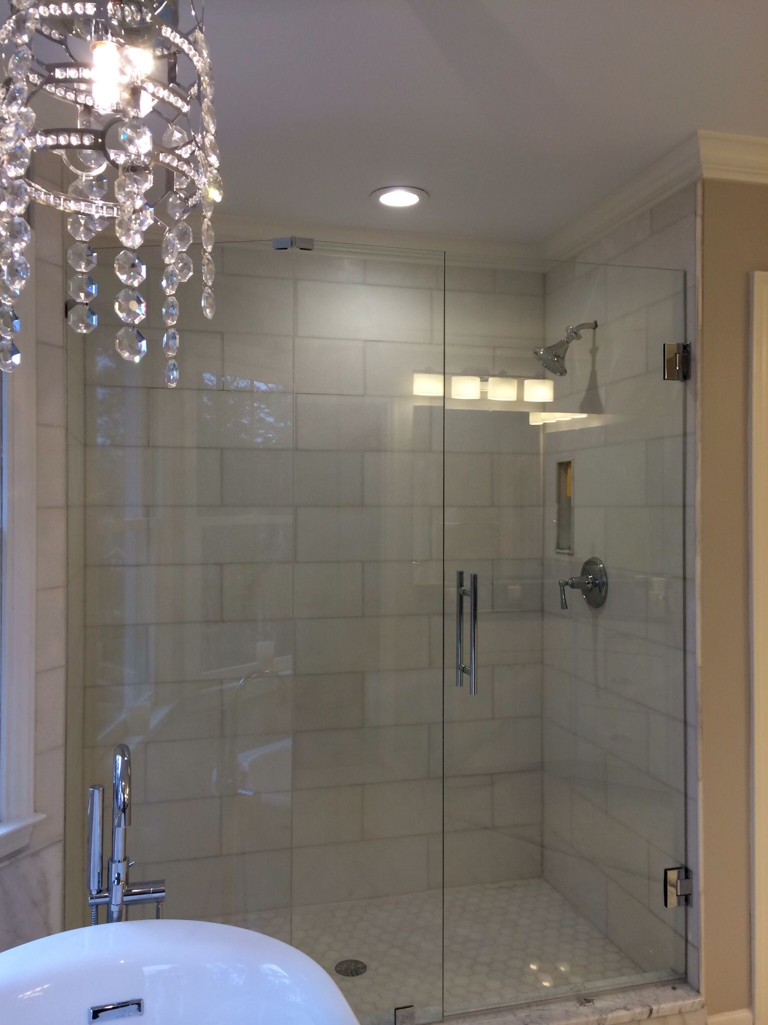 Ladder Style Shower Handles Fit In Modern Contemporary Bathroom