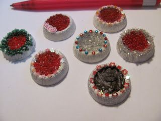 easy diy miniature cakes - variety produced from one style of fancy button (button + paint and toppings) (scheduled via http://www.tailwindapp.com?utm_source=pinterest&utm_medium=twpin&utm_content=post127688875&utm_campaign=scheduler_attribution)