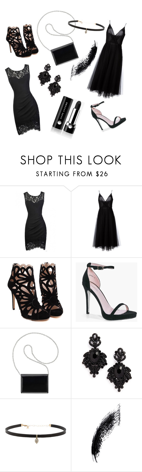 """""""Party in Black"""" by gora-zsofia ❤ liked on Polyvore featuring Valentino, Boohoo, Nine West, Tasha, Carbon & Hyde and Marc Jacobs"""