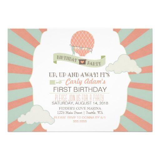 Heißluft Ballon U. Wolken Kindergeburtstag Party Karte