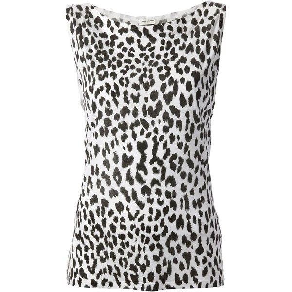 8d4937cd91aad Saint Laurent Leopard Print Vest Top (235 AUD) ❤ liked on Polyvore  featuring tops