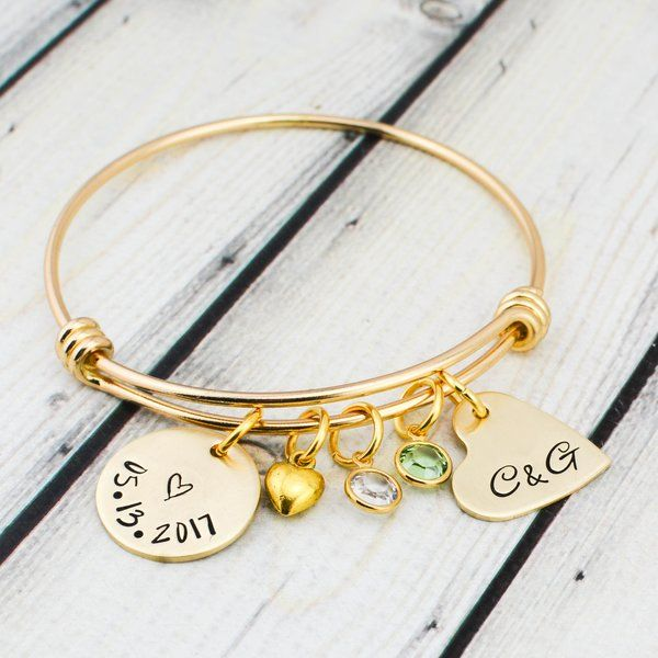 Gold Personalized Wedding Date Bracelet for Bride Wedding Gifts