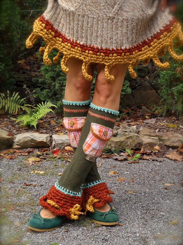 RESERVED Custom order Boho Urban Chicks LEG Warmers Flared leg warmers cute POCKETS Fall colors leg warmers Bell Bottoms eco friendly. $69.00, via Etsy.