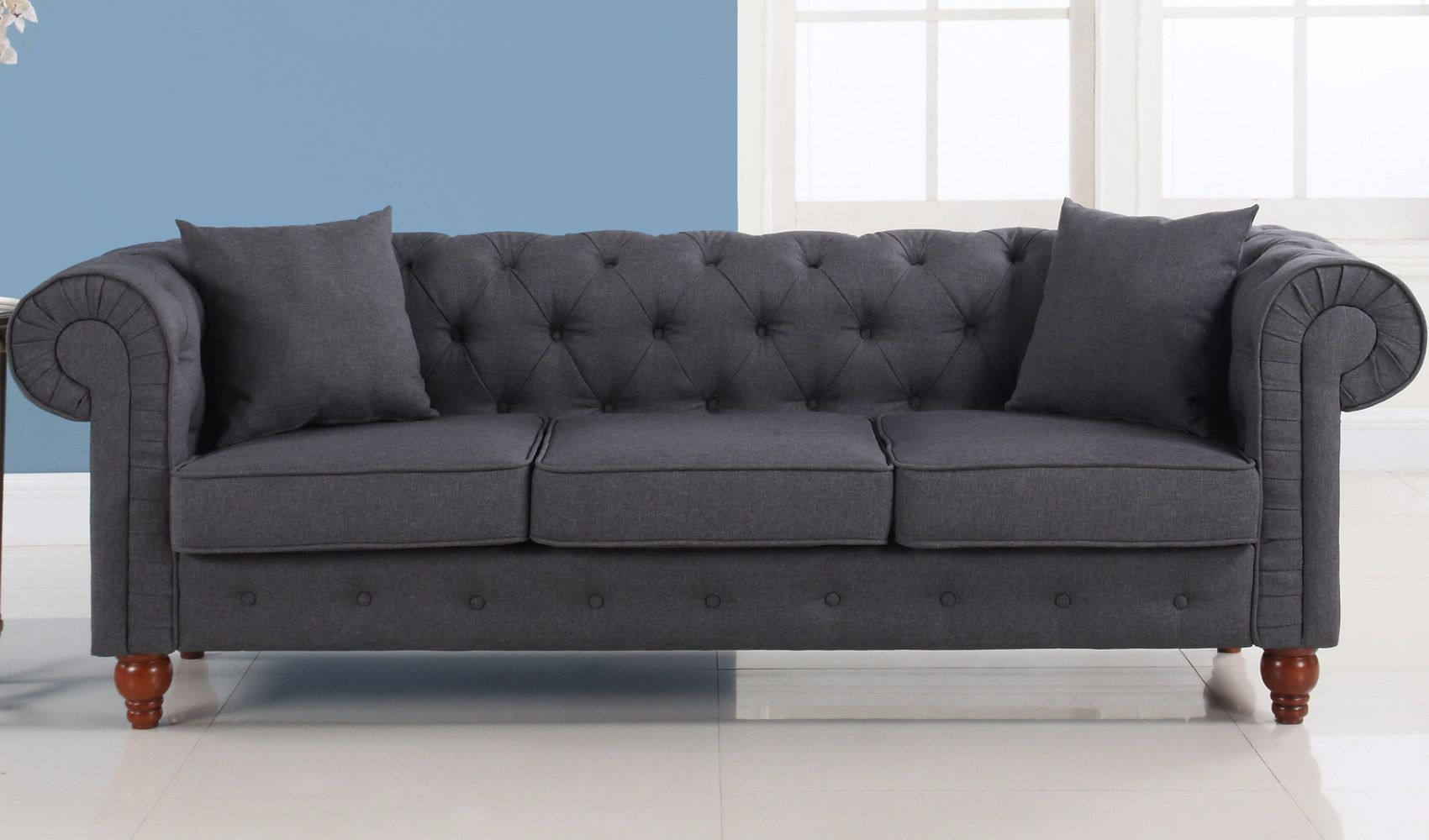 Stratford Classic Grey Fabric Chesterfield Sofa Sofa Chesterfield Style Sofa Classic Chesterfield Sofa