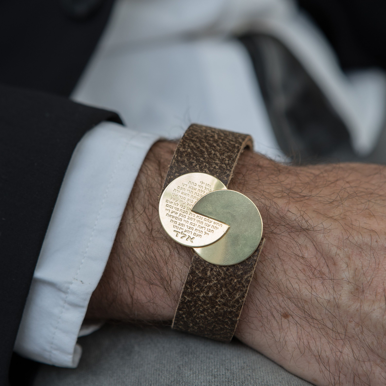 Menus bracelet men leather bracelet gold bracelet kabbalah