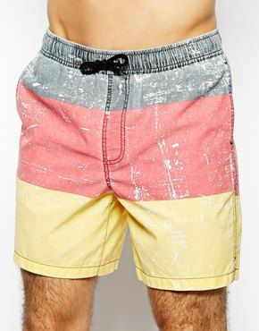 342a0d2c4a8ef ASOS Stripe Swim Shorts In Mid Length | MENS SWIMWEAR | Swim shorts ...