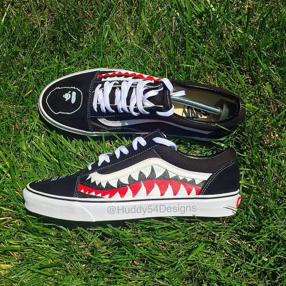 Shark Teeth Bape Vans | Bape vans, Shark shoes, Vans