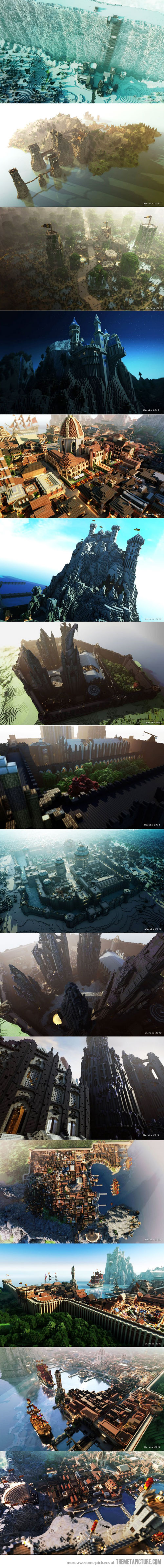 Insane builds in Minecraft of Westeros. Rendering on images is beaut.