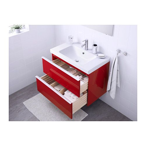 godmorgon odensvik sink cabinet with 2 drawers high gloss red 31 1 2x19 1 4x25 1 4 ikea. Black Bedroom Furniture Sets. Home Design Ideas