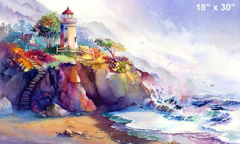 Coastal Colors Lighthouse Watercolor Print Beach Painting