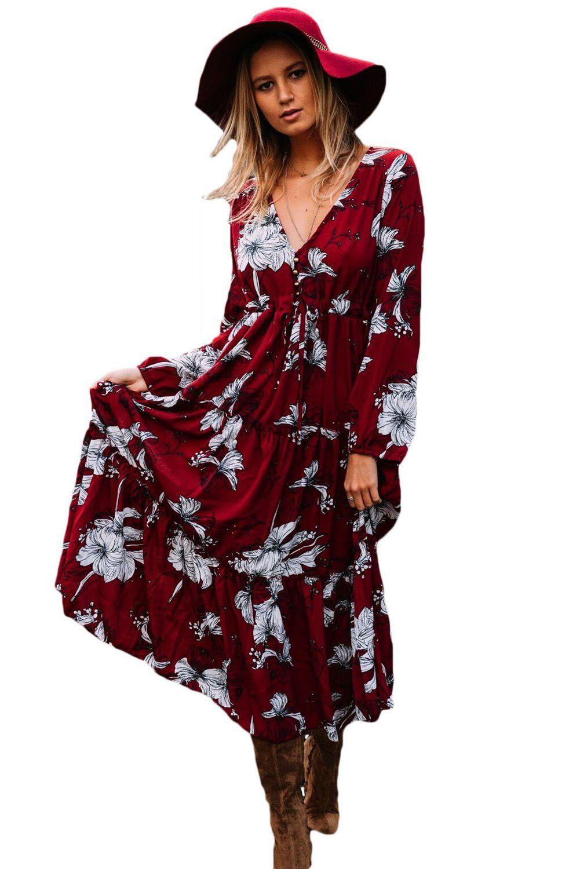 Burgundy floral print long sleeve boho maxi dress products