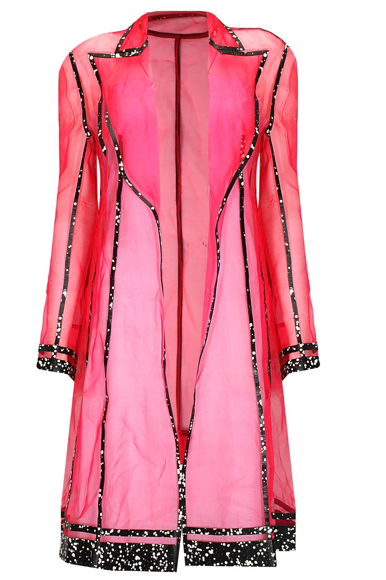 6245a9dd09 Hot pink leather inserts sheer overcoat by Huemn. Shop now  http ...