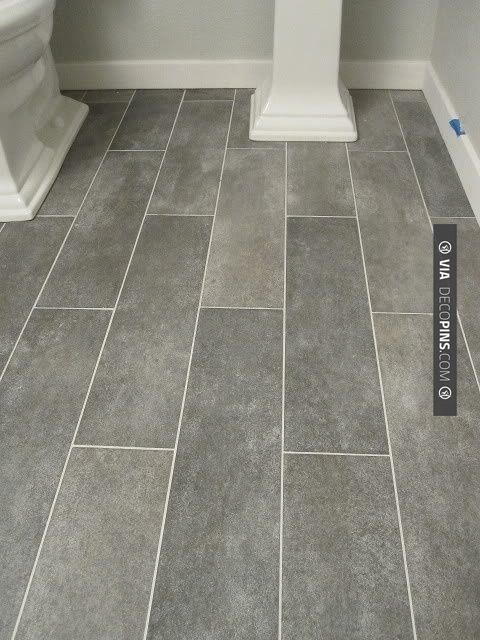 Charming Bathroom Floor Ideas Tile Part - 5: Wide Plank Tile For Bathroom. Great Grey Color! Would Love For All Bathrooms .