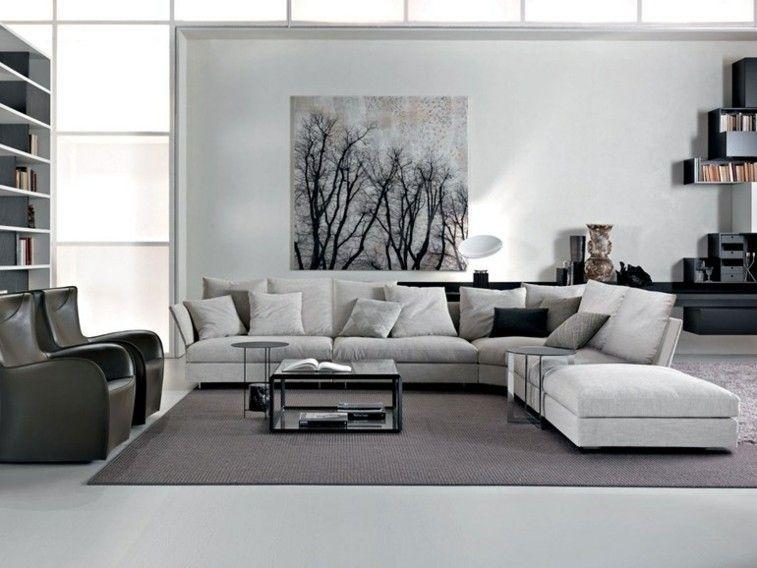 salón decorado en colores blanco y gris Ideas para el hogar