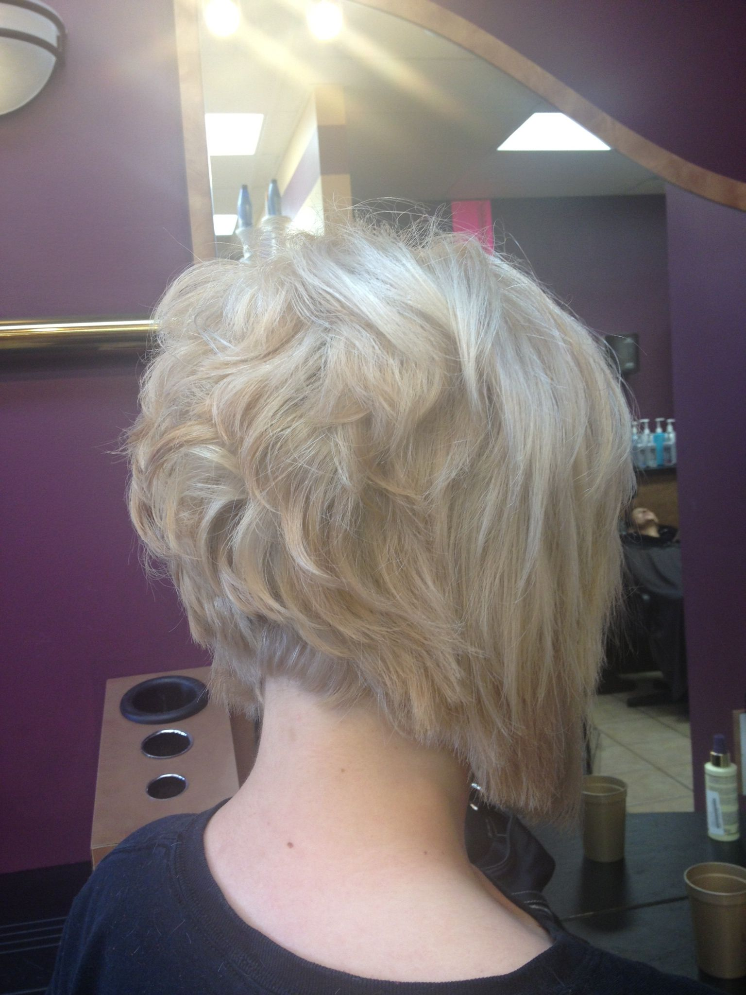 Short stacked bob with platinum blonde color