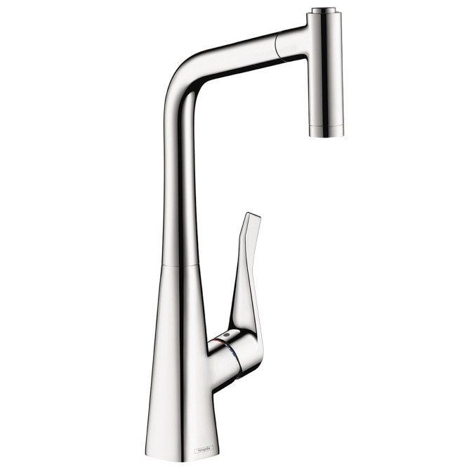 Hansgrohe 14820001 Chrome Metris Pull-Out Kitchen Faucet with High ...