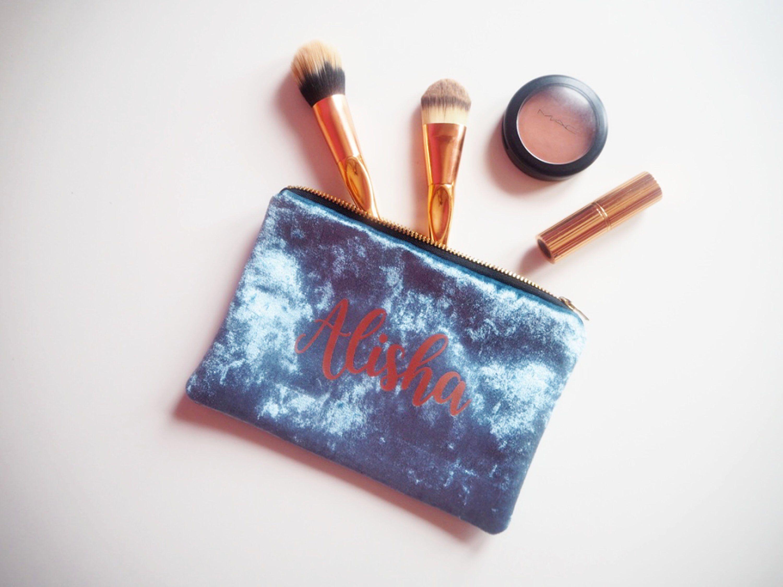 Personalised Velvet Makeup Bag, Personalised Makeup Bag