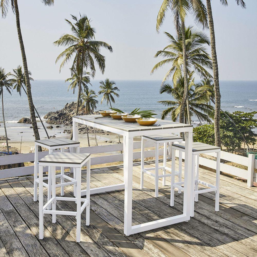 Mesa alta de jardín con 4 taburetes de aluminio L.128 in ...