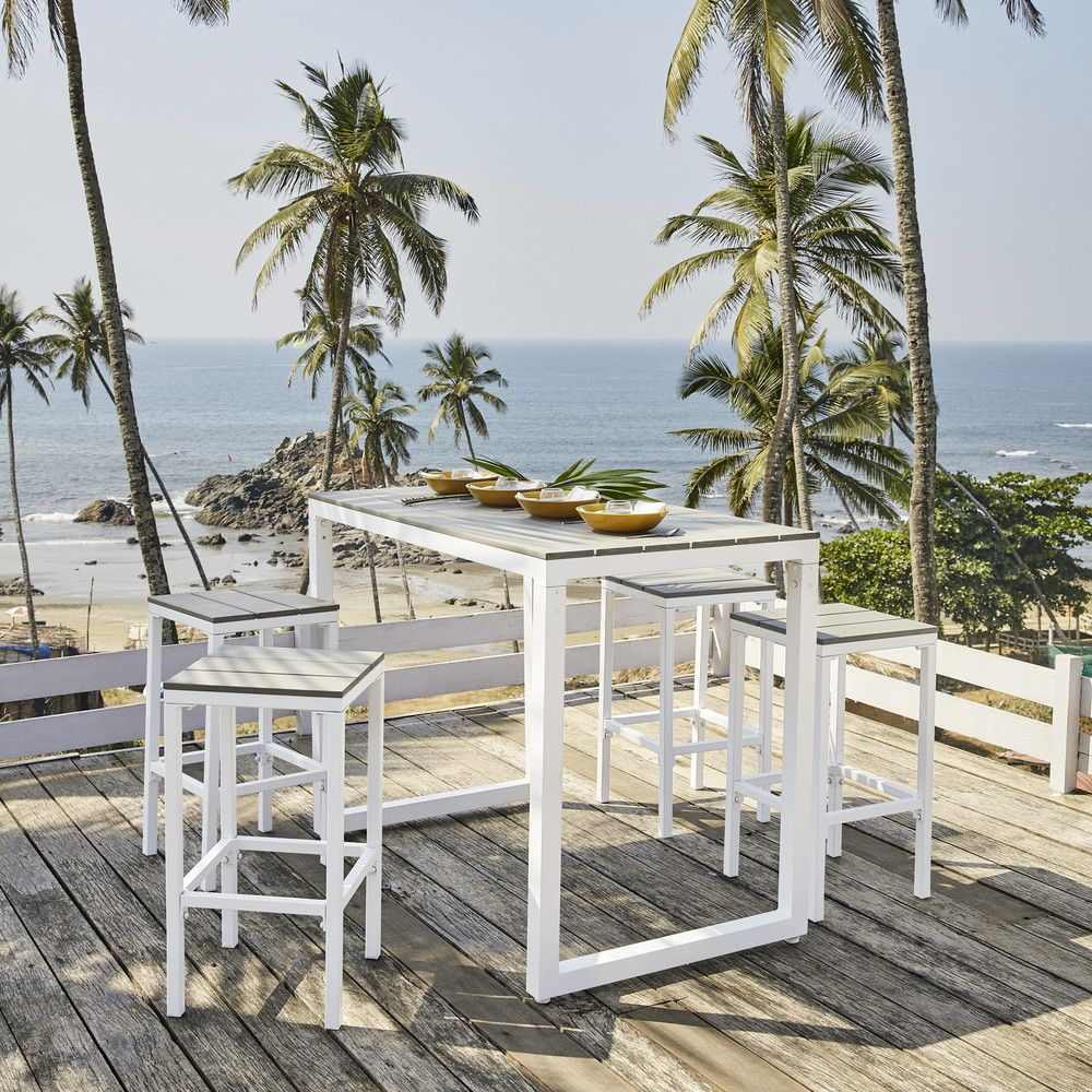 Table de jardin haute avec 4 tabourets en aluminium L128 ...