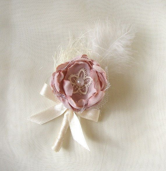 Blush Pink Ivory Boutonniere  Groom Lapel Pin  by FloroMondo, $12.00