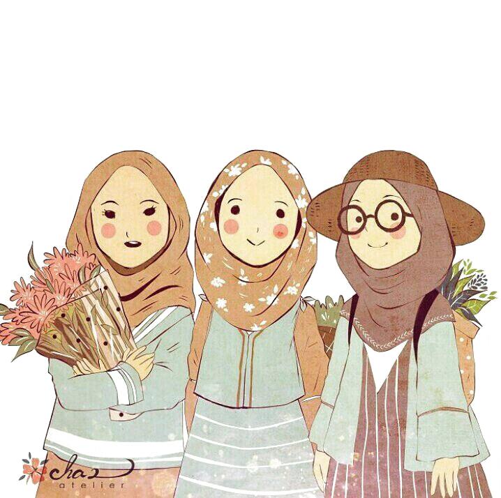 İslamic anime ve tesettür di 2020 Kartun, Ilustrasi