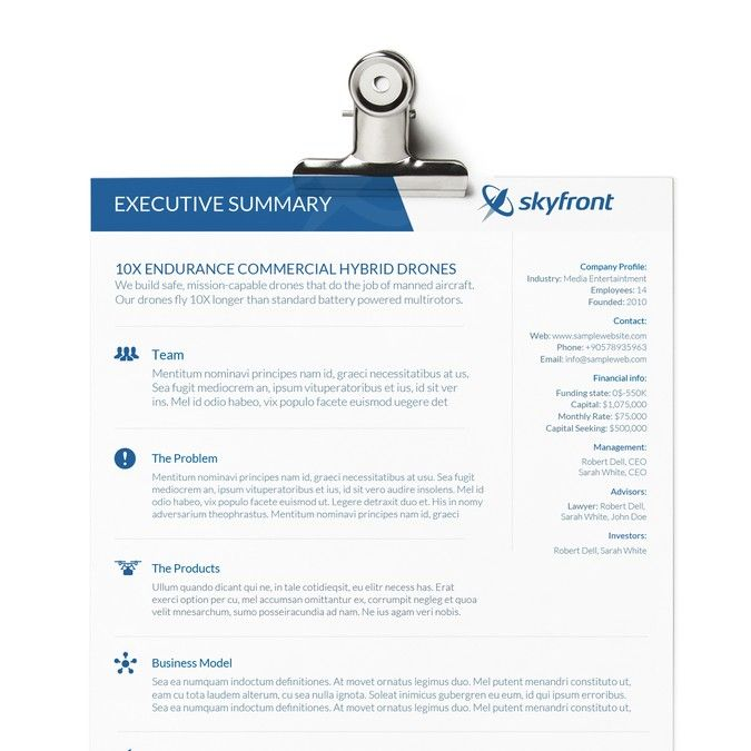 Design A One Page Company Summary For Drone By Smashingbug