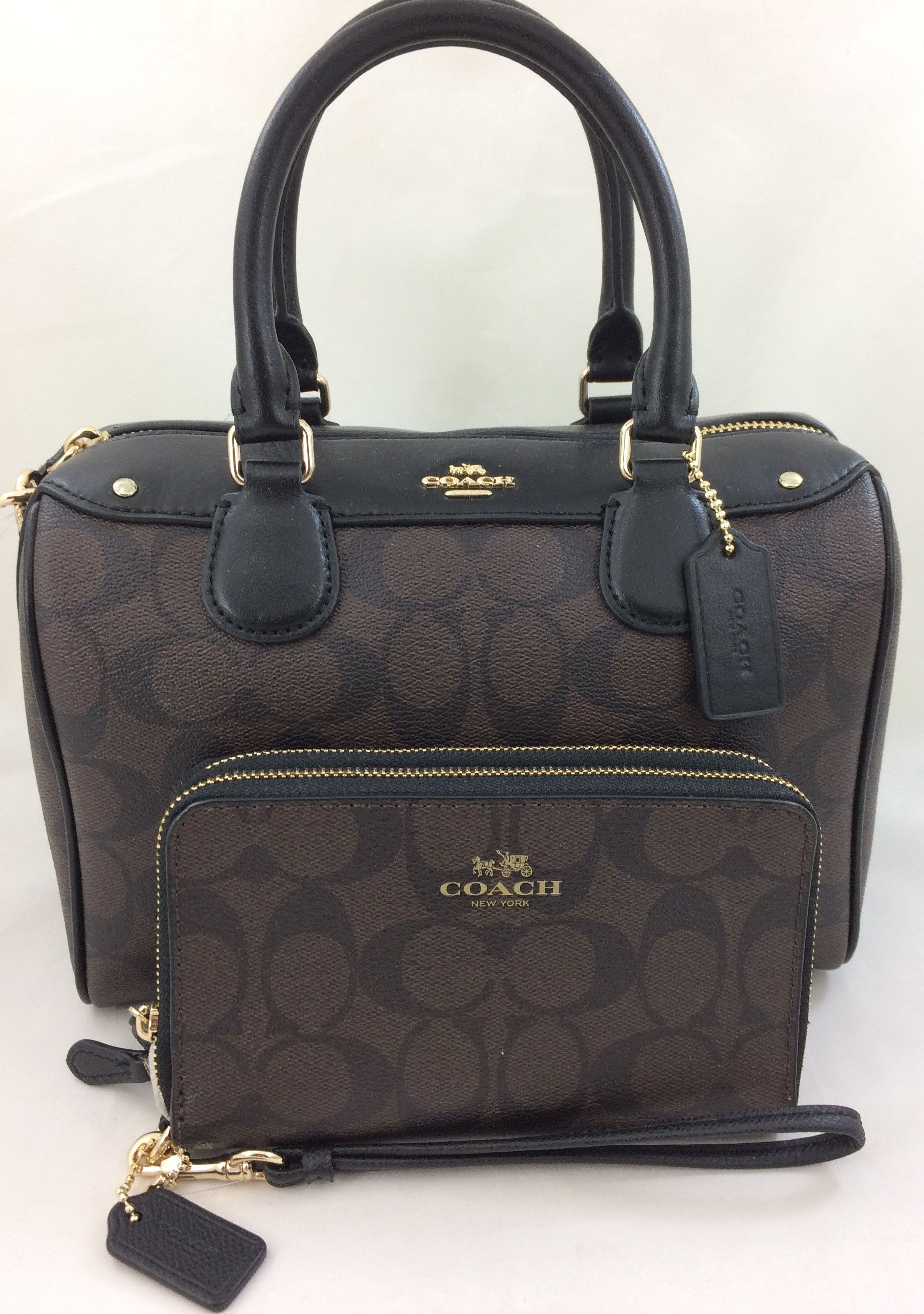 aa59cba7c19d3 New Authentic Coach F58312 Mini Bennett Satchel Shoulder Bag Signature PVC  Brown Black+ Wallet Set