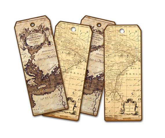 Ancient map bookmark set of four world map atlas bookmark tag ancient map bookmark world map atlas bookmark tag travel theme bookmarks party gumiabroncs Choice Image