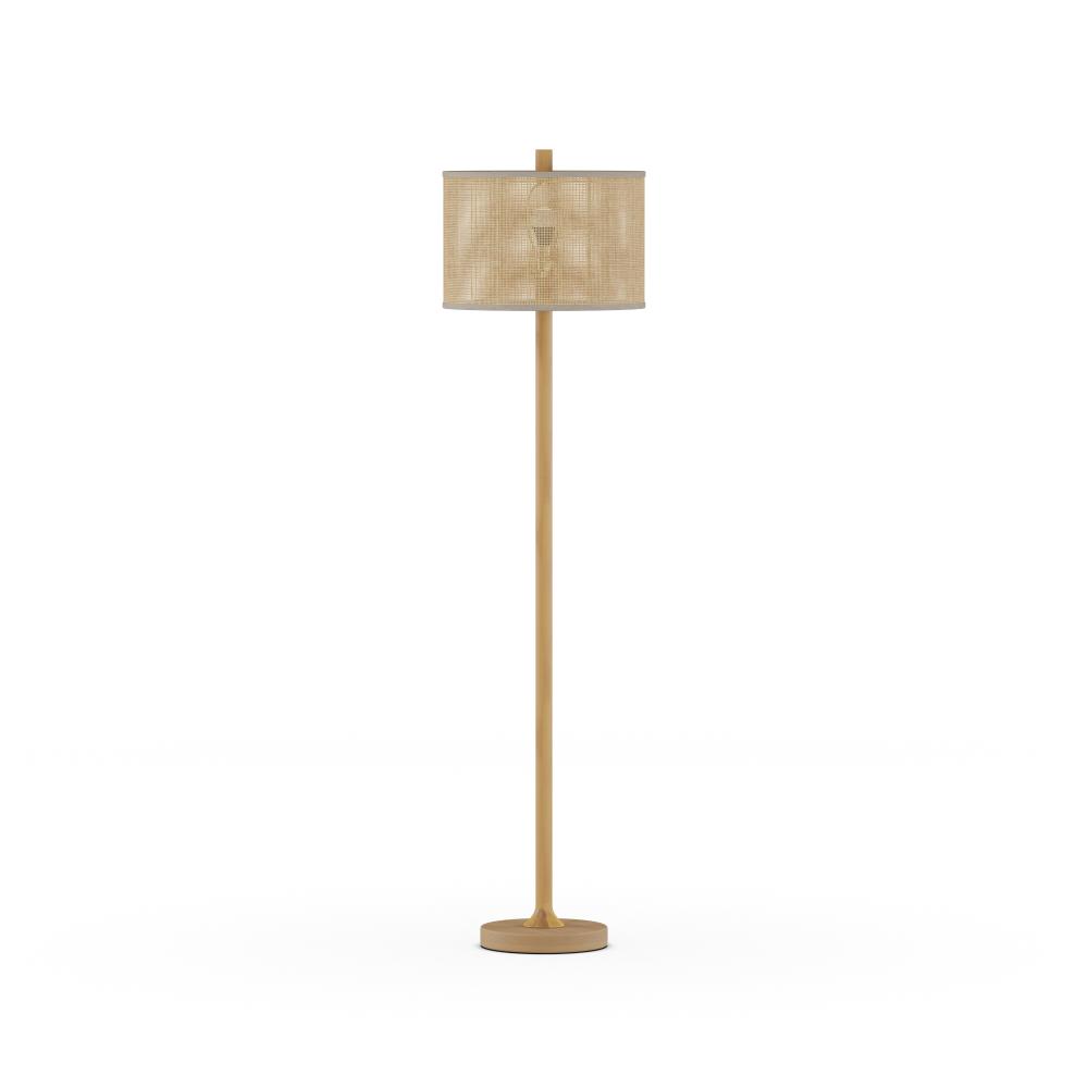 "MoDRN 63"" Natural Boho Floor Lamp with Rattan Shade"