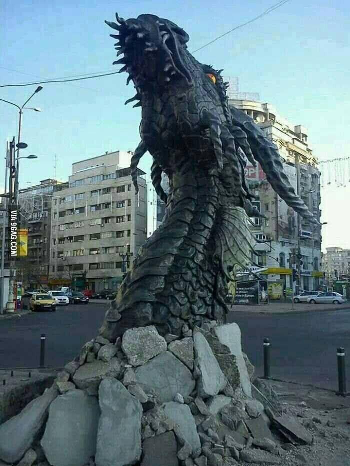 Creepy looking sculpture in Bucharest, Romania