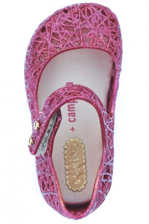079b18d22 Mini Melissa + Campana Zig Zag IX Glitter Mary Jane Shoes, Pink ...