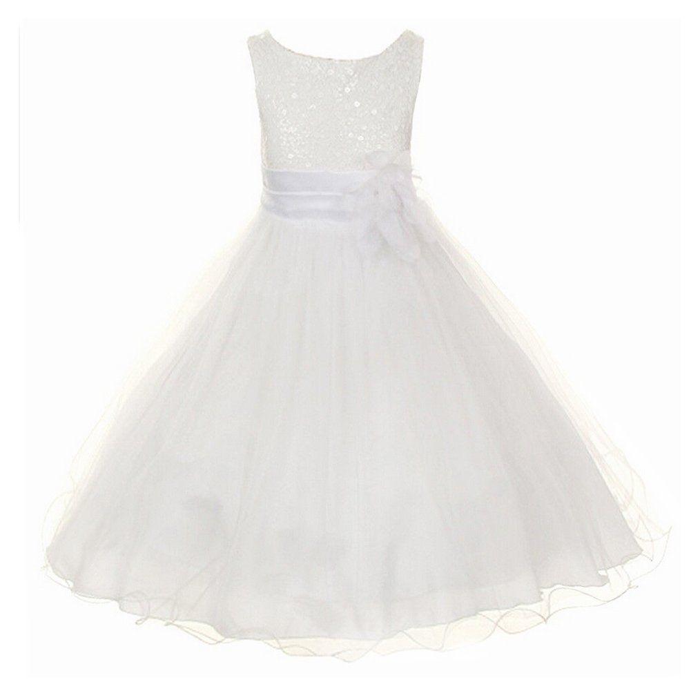 Z.D Girls Wedding Dress Ball Gown Bridesmaid Tull Sequined Sleeveless Dress, Grey, US 8