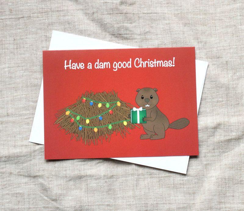 Funny Christmas Card, Beaver Christmas card Cute