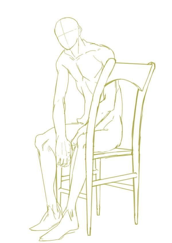how to draw anime sitting poses