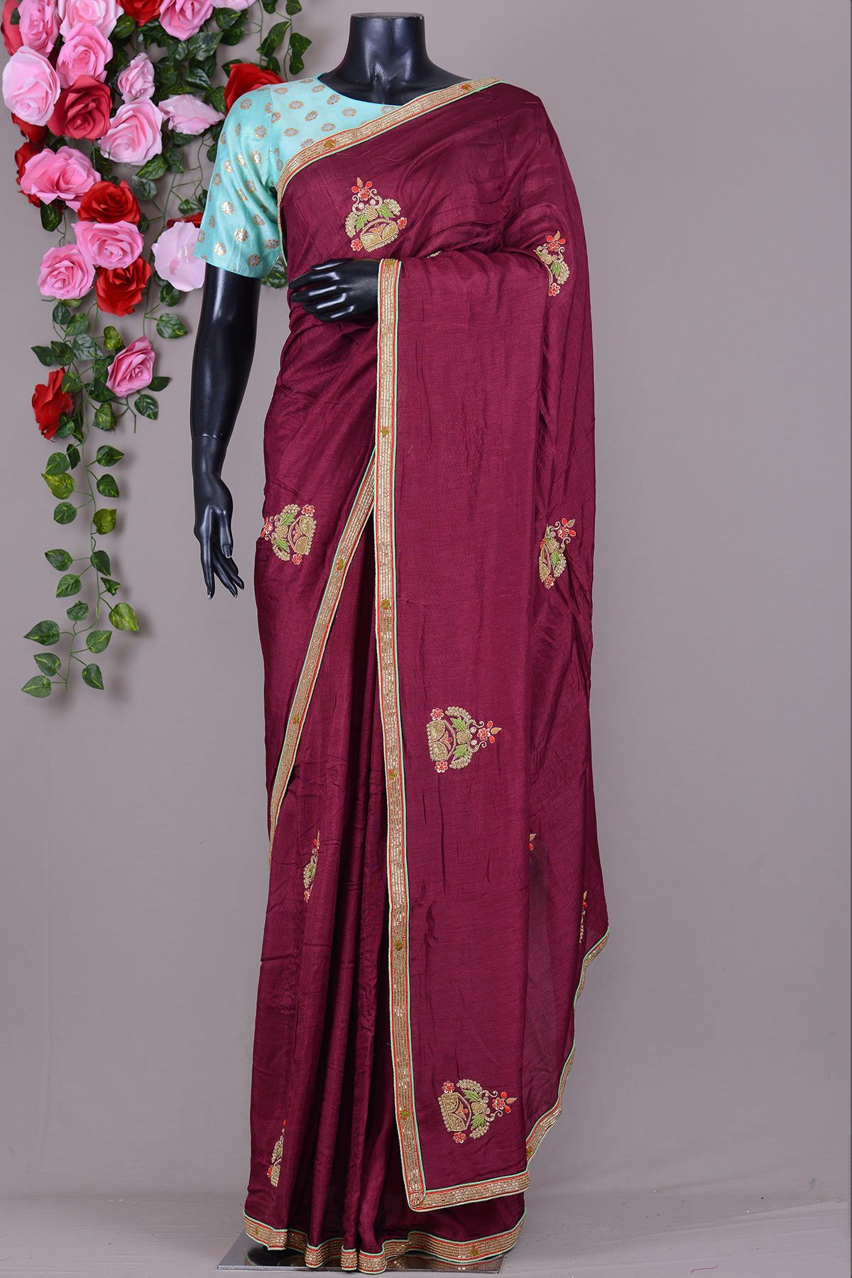 Off white tussar silk saree rosewood red cutdana embroidered tussar silk sareevi  blended