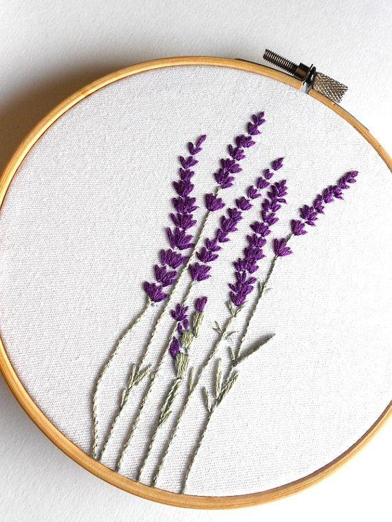 Lavendel Stiele handbestickt in einem 5 (13 cm) ...  #einem #handbestickt #lavendel #stiele #embrodery