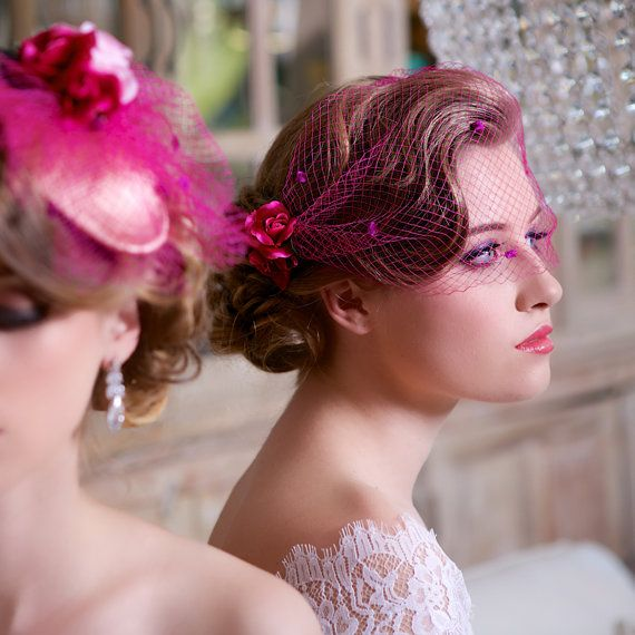 Quirky Wedding Hairstyle: SALE Pink Roses Birdcage Veil Fuchsia Headpiece By