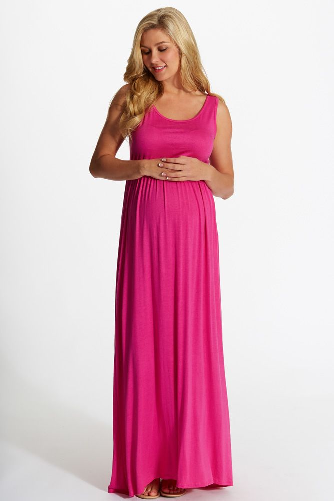 Fuchsia Basic Sleeveless Maternity Maxi Dress | Easter outfit ...