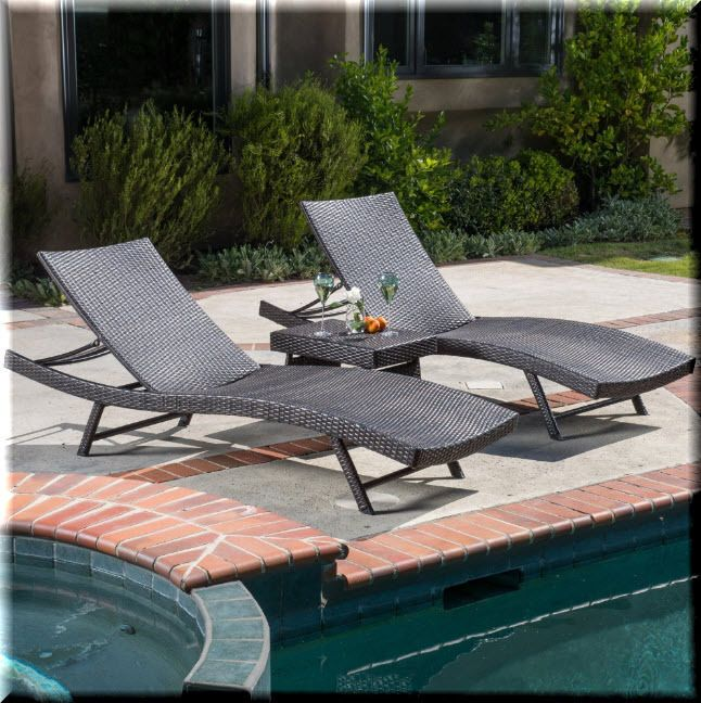 Outdoor Chaise Lounge Set 3 Piece Side Table Brown Resin ...
