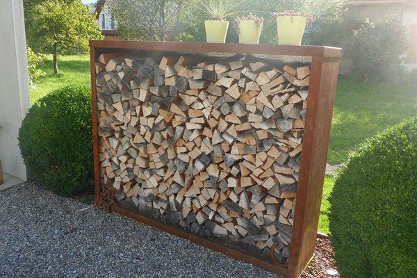 Das Holzlager K Besteht Aus Einem Stahlmantel Das Heisst Oben Seitlich Und Hinten Ist Das Holzlager Geschlossen Holzaufbewahrung Holzlager Brennholz Lagerung