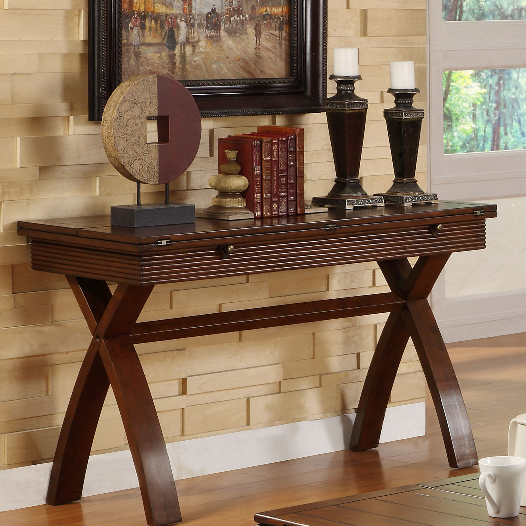 This expandable wood sofa table by naleigh can easily extend to furniture of america naleigh expandable sofa table overstock shopping great deals on furniture of america coffee sofa end tables geotapseo Images