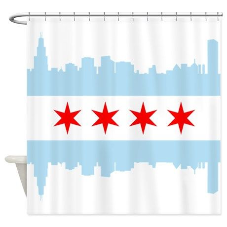 Chicago Flag Skyline Shower Curtain By Designers Cafe Chicago
